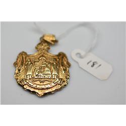 14K Embossed Hawaiian Coat of Arms Pendant, 14K Yellow Gold, 6.5 g