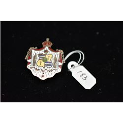Silver Enameled Hawaiian Coat of Arms Pendant/Brooch, Unmarked Silver, 5.5 g