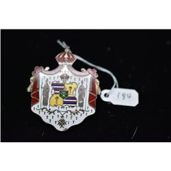 Silver Enameled Hawaiian Coat of Arms Pendant/Brooch, Unmarked Silver, Initials on Verso, 23.3 g