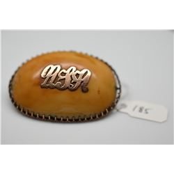 "Vintage Cabochon Brooch, Unmarked Yellow Gold w/Monogram ""RSA"""