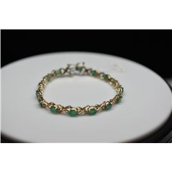 7.5 ct Emerald Link Bracelet - 15 Emeralds, 14K Yellow Gold, 11 g, Emeralds have nicks, surface scra