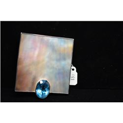 "Large Sterling Topaz/Mother of Pearl Pendant 2 3/8"" x 2 1/4"" - Blue Topaz 6 ct, Sterling 44.4 g"