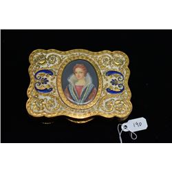 Italian Gilt Metal and Enamel Ladies Compact w/Handpainted Portrait, Minor Wear to Gilt