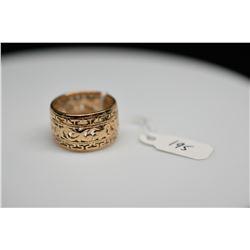 Ming's 14K Band Ring 11.5mm - Key & Scroll Motifs, 14K Yellow Gold, 4.9 g