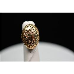Ming's 14K Gold Ring - Floral Branch & Bird Motifs, 14K Yellow Gold, 7.9 g