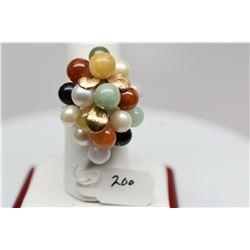 Ming's 14K Jadeite Jade & Pearl Cluster Ring - 11 Jadeite Jade Beads, 5 Cultured Pearls, 5.5 g