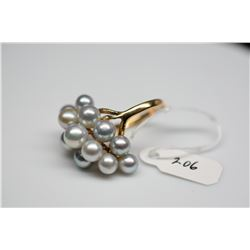 Ming's 12-Pearl Cluster Ring - Gray Colored Cultured Pearls,14K Yellow Gold, 5.5 g