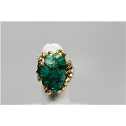 Emerald & Diamond Ring - Man-Made Emerald Crystal Cluster (Damaged Cond), 4 Brilliant Cut Diamonds .