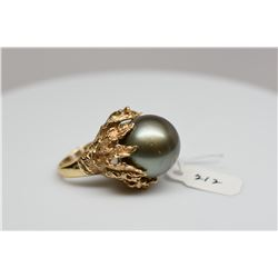 Black Tahitian Pearl Ring - 17mm Gray Cultured Pearl, Leaf Desing Mounting, 14K Yellow Gold 20.1 g