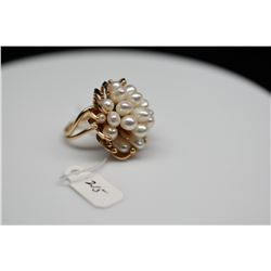 20-Pearl Cluster Ring - Fresh Water Cultured Pearls, 1 Pearl Missing, 14K Yellow Gold, 10.9 g