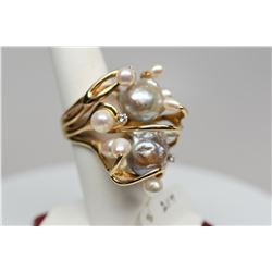 Pearl & Diamond Ring - 2 Gray Baroque Pearls, 9 Fresh Water Cultured Pearls, 3 Round Diamonds .09 ct