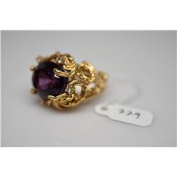11.5 Amethyst & Diamond Ring - Oval Amethyst 11.50 ct, 5 Diamonds .15 ct, 14K Gold, 23.9 g