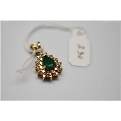 Emerald & Diamond Pendant - Pear Emerald 7x5x 3mm .65 ct, 25 Diamonds .25 ct, 14K Yellow Gold, 2.4 g