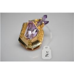 10 ct Amethyst Pendant  w/ Amethyst Crystal, 14K Yellow Gold w/ Textured Finish, 22.5 g