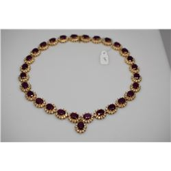 Ruby & Diamond Link Necklace - Oval Ruby 2.0 ct. Total 29 Rubies 58.0 ct, 12 Diamonds .24 ct. Total