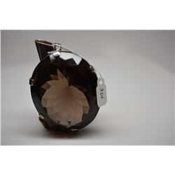 455 ct Oval Smoky Quartz Pendant, 61x51x33mm, 925 Silver Frame, 149 g, Minor Nicks & Scratches