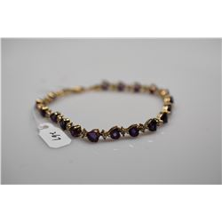 Heart-Shaped Amethyst Tennis Link Bracelet 6 3/4 Length - 18 Amethysts 5x5mm Each, 4.5 ct, 14K Gold,