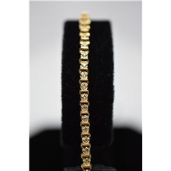"51-Diamond Tennis Link Bracelet 7"" Length - 51 Diamonds .75 ct Total Wt, 14K Gold 8.3 g"