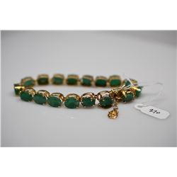 "25.5 ct Emerald Link Bracelet 7"" Length - Emeralds 8.5x6.5mm Each, 14K Gold, Charms, 17.7 g"