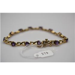 "Heart-Shaped Amethysts Link Bracelet 7 1/2"" Length - 12 Amethysts 5x5mm Each, 3 ct, 14K Gold, 10.1 g"