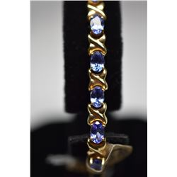 "9ct Tanzanite Link Bracelet 7 1/4"" Length - 18 Tanzanites 4x6mm Each, 14K Gold, 14.7 g"