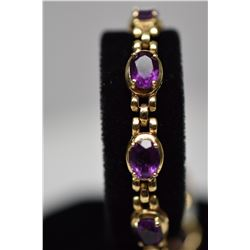 "12.5 ct Amethyst Link Bracelet 6 7/8"" Length - 10 Amethysts 6x8mm Each,12.5 ct, 14K Gold, 13.5 g"