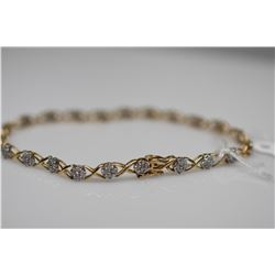 "Diamond Link Bracelet 7 1/4"" Length - 88 Diamonds 1.0 ct Total Wt, 10K Gold, 4.3 g"
