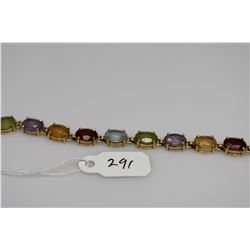 "14K Link Bracelet w/Multiple Gemstones 7 1/4"" Length - 20 Oval Faceted Aquamarines, Citrines & Perid"