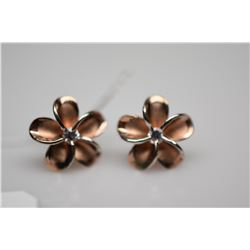 Plumeria Flower Stud Earrings - Each w/ 1 Round Cubic Zirconia .03 ct, Rose Vermeil 925 Silver, 1.6