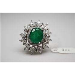6 ct Emerald Ring - Oval Emerald Doublet (13x11x6.3mm), 36 Marquise CZ (2.88 ct), 22 Round CZ (.44 c