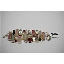 """Starborn"" Sterling Silver Bracelet - 8"" w/ Stones: Amethyst, Aquamarine, Topaz, Citrine, etc."