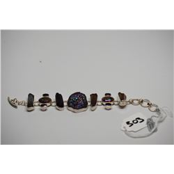 "Sterling Silver Bracelet - 7.5"" w/ Iridized Natural Rock Quartz Crystals, Amethyst, Druzy Quartz"
