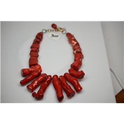 "Red Branch Coral Necklace - 20"" Deep Water Coral Chunks, Natural Shape, Enhanced Red Color"