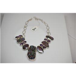 "Sterling Silver Necklace - 22.5"" w/ 8 Oval Amethyst, 3 Iridized Druzy Quartz Crystals, Abalone"