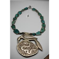 Chinese Silver & Turquoise Necklace - 18 Turquoise Stones, Intricate Repousse and Chased Bird