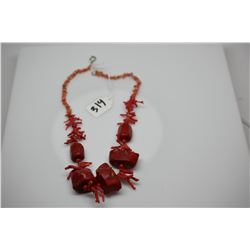 """Red Branch Coral Necklace - 22"""" Graduated Chunks, Enhanced Red Color"""