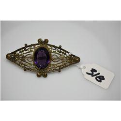 "Vintage Romanesque Victorian Gilt Costume Metal Pin w/ Purple Glass Stone 3 3/8"" x 1 3/4"""