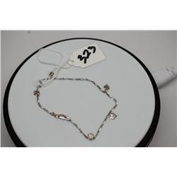 """14K White Gold Italian Heart Charm Bracelet, 4 3/8"""""""
