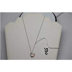 "Tiffany & Co. Sterling Silver 18"" Chain w/ Sterling Open Heart Pendant, Signed Elsa Peretti (Spain,"