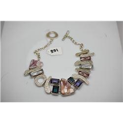 Sterling Silver Handmade Choker w/ Semi Precious Stones: Pearl Shells, 7 Synthetic Multi-Colored Sto