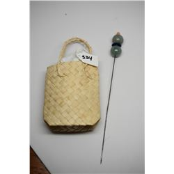 Vintage Jade Hat Pin (Stickpin) - 2 Jade Beads, Lapis Lazuli, 4mm Natural Pink Coral Bead