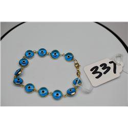"""14K """"Evil Eye"""" Glass Bead Bracelet 3 1/2"""", Italian"""