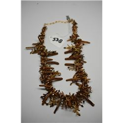 """Costume Necklace 16"""" - Gold/Brown Tones, Composite Branches, Plastic Beads"""
