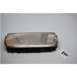 "Sterling Silver Hairbrush - Boar Hair Bristles, Etched Monogram, 7 1/4"", Circa 1900-1915"