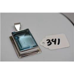 """Blue Topaz Pendant - Sterling Silver, Off-Center Rectangular, Topaz 1 1/4"""" x 7/8"""""""