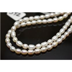 """Double Strand Pearl Necklace 33 1/2""""  - 6mm-9mm Egg-Shaped Freshwater Pearls"""