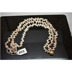"""Triple Strand Champagne Pearl Choker Necklace 18 1/2"""" - 6mm-10mm Oblong Freshwater Pearls"""