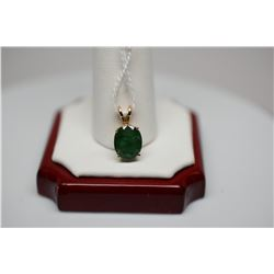 "Emerald Pendant, 3/8"" Emerald on 14K Yellow Gold Sliding Bale"