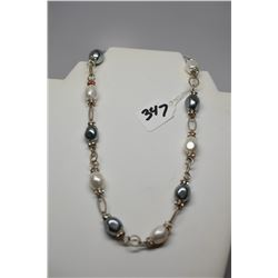 """Faux Pearl Necklace 18"""" w/ Rhinestone Spacers, Silver Tone Chain"""