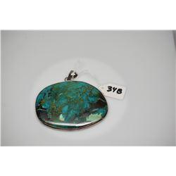 "Turquoise Pendant 4"" X 3 1/8"" - Natural Multi-Hued Polished Turquoise, Silver Bezel & Bale"
